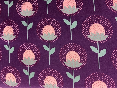 Tissu jersey coton fleurs fond violet