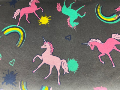 Tissu jersey coton licornes fond gris