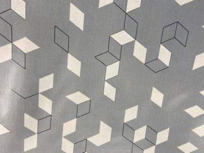 Tissu vinyle cubes gris et écru