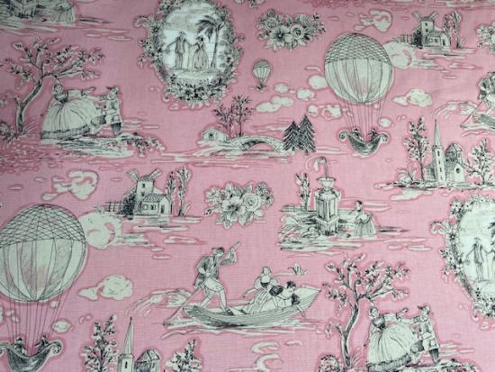 Tissu Toile coton de Jouy fond rose