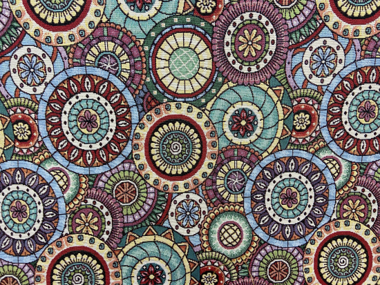Tissu jacquard cercles multicolores
