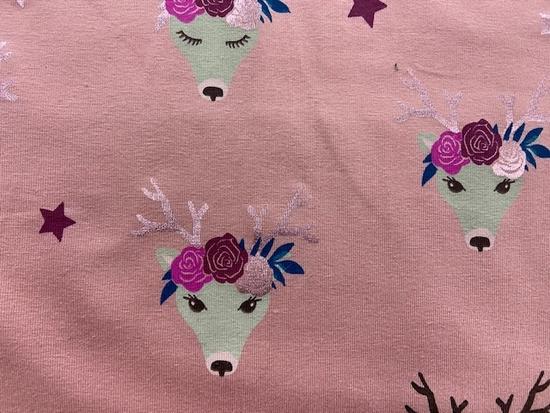 Tissu jersey coton cerfs fond rose