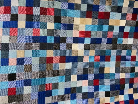Tissu jacquard petits carreaux bleu