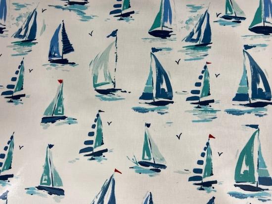 Tissu vinyle bateaux fond blanc