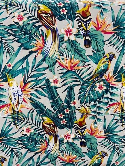 Tissu toile coton exotique turquoise