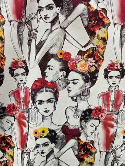 Tissu toile coton Frida rouge et gris