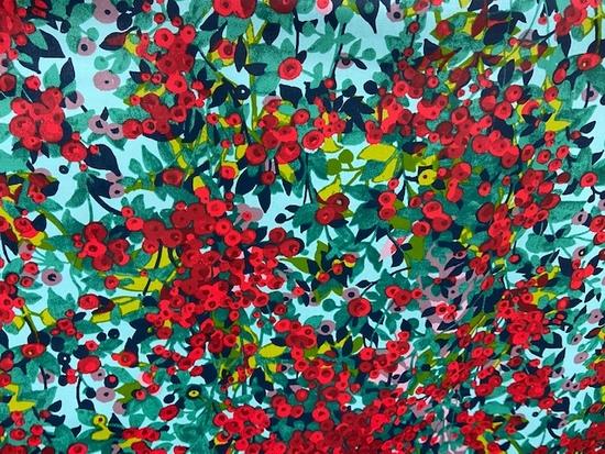 Tissu coton enduit petites fleurs rouge